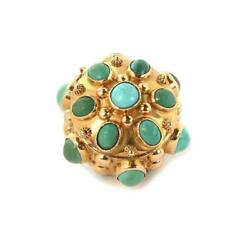 Vintage 18k Rose Gold Turquoise And Jade Etruscan Style Fob Pendant Liquidation