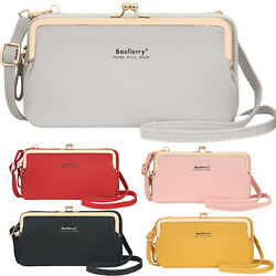 Women Cell Phone Purse Crossbody Shoulder Bag Leather Evening Clutch Wallet Bags $13.29