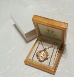 9ct Yellow Gold St George And The Dragon Scroll Pendant And 22 Chain Necklace Boxed