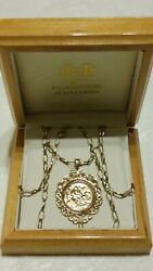 9ct Yellow Gold St George And The Dragon Scroll Pendant And 24 Chain Necklace Boxed