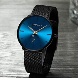 Menand039s Watch Stainless Steel Minimalist Ultra Thin Watches Hombre Relojes De
