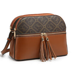 Women Small Faux Leather Two Tone Crossbody Purses Messenger Bags with Tassels $25.99