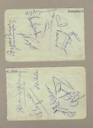 Busby Babes - 2 X Hand-signed Album Pages Signed X 13 1957 Manchester United