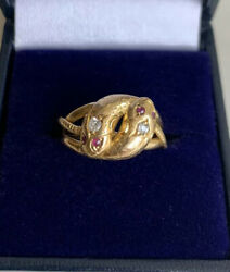 18ct Gold Victorian Double Headed Snake Ring Diamonds And Ruby Stone Eyes 4.8g M