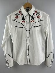 Jeans Company Western Shirt Xs Pearl Snap Beaded White Womens