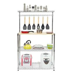 Free Shipping Four-tier Powder Coating Baker's Rack Microwave Oven Rack With Mdf