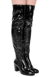 Pryntil 548849 Over The Knee Tiger Head Stretch Patent Leather Boots 40