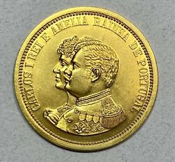 1908 Portugal Carlos I And Amelia Gold Medal 30 Mm 13.87g