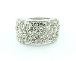 14k White Gold 5 Row Wide Cluster Diamond Lady's Band 4.80 Ct 20692