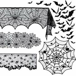 5 Pack Halloween Spider Decorations Sets -halloween Fireplace Mantel Scarf And