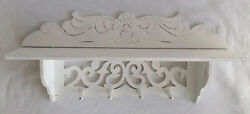 Vintage Farmhouse Distressed White Wall Shelf Carved Wood Design W/ 4 Pegs