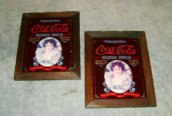 Framed Vintage Coca Cola Signs Collectible Lot Of 2