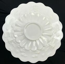 Westmoreland Milk Glass Fluted Panel Low-foot Stand Cake Plate Grape Vine 15