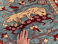 9x12 Blue Handmade Wool Rug Hand-knotted Oriental Handwoven Big Pictorial Carpet