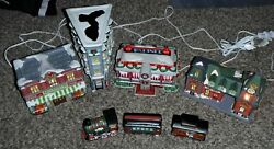 Coca Cola 3x Building Coke Set Dinner And O'well Train Station And 3 Piece Train Set