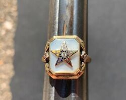 Vintage Antique 10k Gold Order Of The Eastern Star Ring Size 5 3/4 Pearl Stone