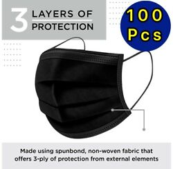 100 / 50 Pcs Black Face Mask Mouth And Nose Protector Respirator Masks With Filter