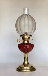 Antique Oil Lamp Ruby Red Glass Font English Made Duplex Burner