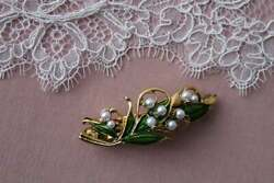 Vintage Style Art Nouveau Lily Of The Valley Faux Pearl Hair Clip Barrette