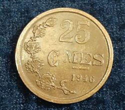 1946 Luxembourg 25 Centimes- Charlotte 19mm Coin