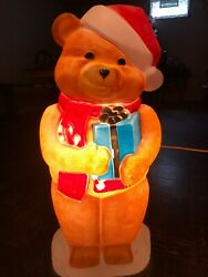 Vintage Bear Blow Mold Lighted Christmas Blow Mold Candy Cane Present Cute