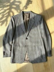 Canali Mens Designer Two Piece Suit Beautiful Light Brown Check Spring Summer