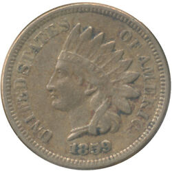 1859 Indian Head Cent Choice Very Fine Vf+ Condition United States Coin