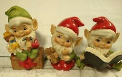 Vintage Homco 5406 Christmas Elves Figurines - Set Of 3 - Great Condition