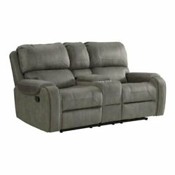 Sunset Trading Calvin 78 Contemporary Fabric Dual Reclining Loveseat In Gray
