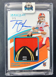 2021 Immaculate Trevor Lawrence Jumbo Playoff Bowl Patch On Card Auto Rc Rpa 2/5