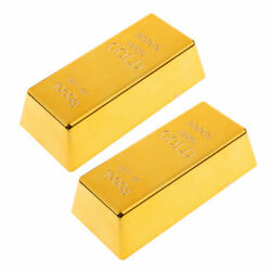2x Fake Plastic 999.9 Gold Bar Bullion Paper Weight Prop Table Decoration