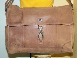 FOSSIL FIELD SPORTS BROWN LEATHER MESSENGER LAPTOP CROSSBODY BAG XL PRE OWNED $35.00