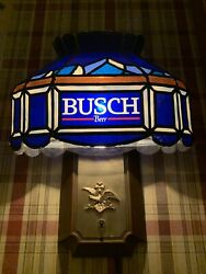 2 Vintage 1986 Busch Beer Faux Stained Glass Advertising Light Wall/sconce Lamps