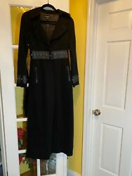 Bebe Vintage Long Trim Leather Studded Rayon And Spandex Coat Size Xs