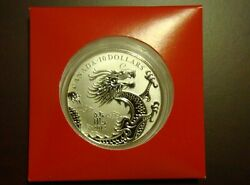 2012 Canada 10 Coin - Year Of The Dragon Fine .9999 Silver - As Issued - Lunar