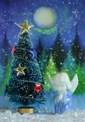 Decorated Red, White And Blue Bottle Brush Christmas Tree + Porcelain Angel