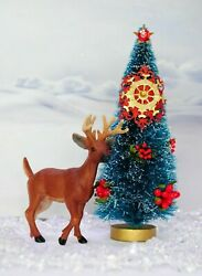 6 Decorated Bottle Brush Christmas Tree With Soft Plastic Reindeer