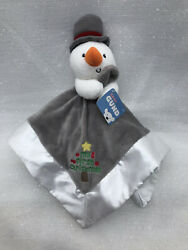 Gund Baby My First Christmas Snowman Lovey Plush Security Blanket Gray White New