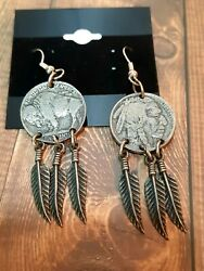 Buffalo Nickel Feather Coin Earrings Accessories Jewelry Native American