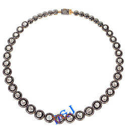 925 Sterling Silver Rose Cut Uncut Diamond Necklace Antique Vintage Look Jewelry