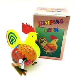 Ms084 Vintage Jumping Cock Rooster Chicken Retro Clockwork Wind Up Tin Toy