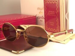 New Vintage Giverny 18k Gold And Wood 51/20 Full Set France Sunglasses