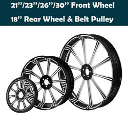 21/23/26/30and039and039 Front 18and039and039 Rear Wheel Hub Rim Hub Fit For Harley Touring 08-2021