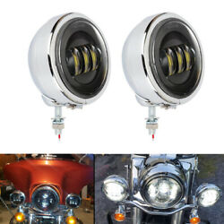 4.5and039and039 Led Fog Passing Light And Outer Cover Housing Bracket For Harley Road King