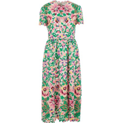 Valentino Floral Embroidered Midi Dress - It 44/uk 12 - Andpound7950