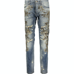 Dolce And Gabbana Floral Embellished Distressed Jeans - Blue - It 56/uk 40 - Andpound5750