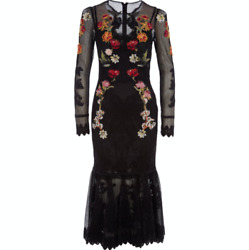 Dolce And Gabbana Floral-appliquandeacuted Lace-trimmed Mesh Midi Dress - Uk 6/it 38