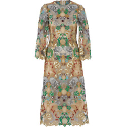 Dolce And Gabbana Gold Tone Floral Embroidered Midi Dress - Uk 6/it 38