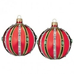 Waterford Holiday Heirlooms Waterford 3 Ruby Ball Set Of Two 2 New 162990