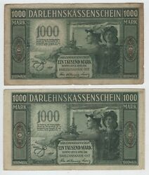 2 Notes 1000 Mark German Occupation Of Lithuania Kowno 1918 P R134 [ah715]